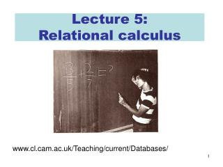 Lecture 5: Relational calculus