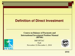 Definition of Direct Investment Course on Balance of Payments and