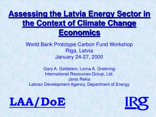 Assessing  the  Latvia Energy Sector in the Context of Climate Change Economics