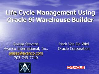 Life Cycle Management Using Oracle 9i Warehouse Builder