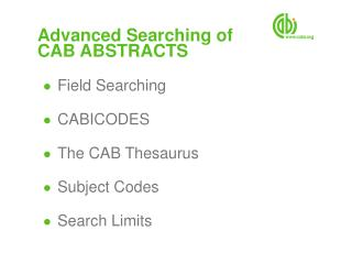 Advanced Searching of  CAB ABSTRACTS