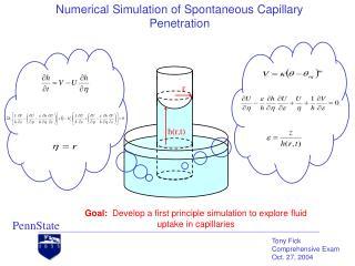 Numerical Simulation of Spontaneous Capillary Penetration