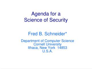 Agenda for a Science of Security