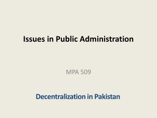 Issues in Public Administration