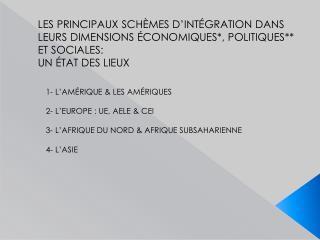 LES PRINCIPAUX SCHÈMES D'INTÉGRATION DANS LEURS DIMENSIONS ÉCONOMIQUES*, POLITIQUES**