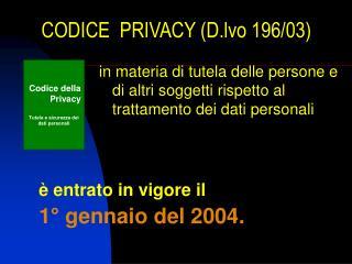 CODICE  PRIVACY (D.lvo 196/03)