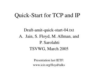 Quick-Start for TCP and IP