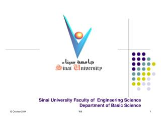Sinai University Faculty of  Engineering Science  Department of Basic Science