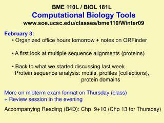 BME 110L / BIOL 181L         Computational Biology Tools