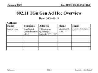 802.11 TGn Gen Ad Hoc Overview