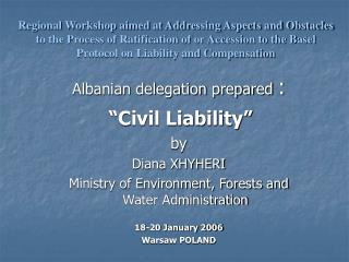 "Albanian delegation prepared : ""Civil Liability"" by  Diana XHYHERI"