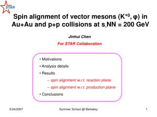 Spin alignment of vector mesons  (K* 0 , φ )  in Au+Au and p+p collisions at s - NN = 200 GeV