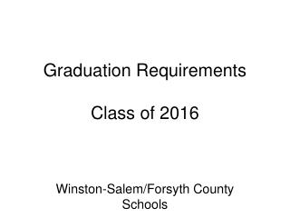 Graduation Requirements Class of 2016
