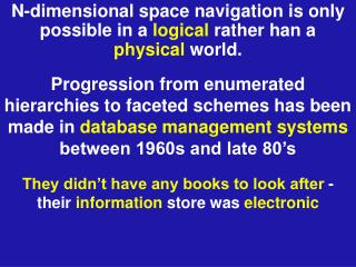 N-dimensional space navigation is only possible in a  logical  rather han a  physical  world.