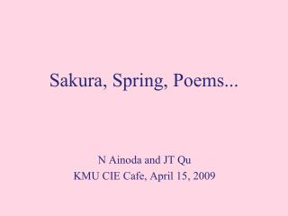 Sakura, Spring, Poems...