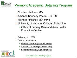 Vermont Academic Detailing Program
