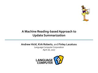 A Machine Reading-based Approach to Update Summarization