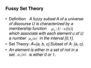 Fussy Set Theory