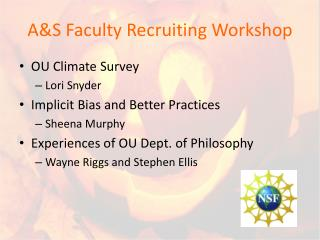 A&S Faculty Recruiting Workshop
