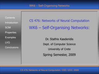 WK6 – Self-Organising Networks