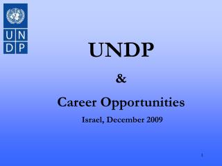 UNDP & Career Opportunities  Israel, December 2009