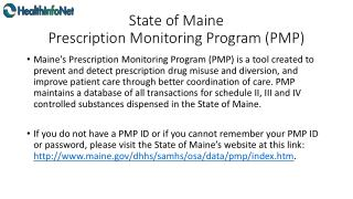 State of Maine Prescription Monitoring Program (PMP)