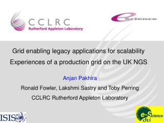 Grid enabling legacy applications for scalability  Experiences of a production grid on the UK NGS