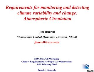 Requirements for monitoring and detecting climate variability and change: Atmospheric Circulation