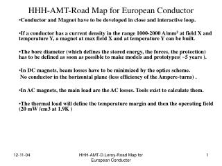 HHH-AMT-Road Map for European Conductor