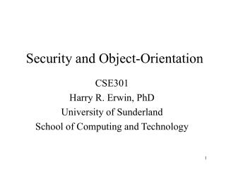 Security and Object-Orientation