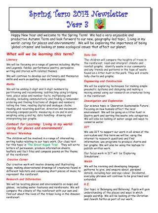 Spring Term 2014 Newsletter  Year 3
