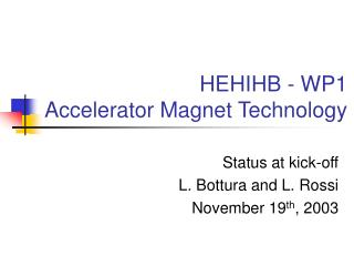 HEHIHB - WP1 Accelerator Magnet Technology
