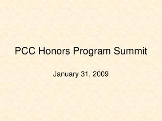 PCC Honors Program Summit