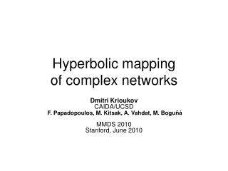 Hyperbolic mapping of complex networks