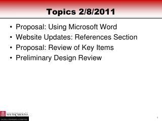 Topics 2/8/2011