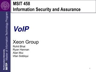 MSIT 458 Information Security and Assurance