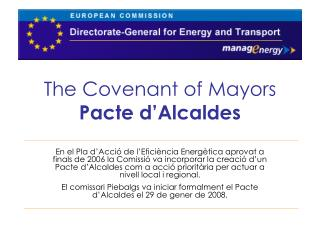 The Covenant of Mayors Pacte d'Alcaldes
