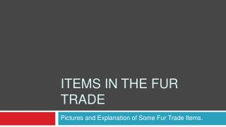 Items in the fur trade