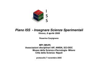 Piano ISS  - Insegnare Scienze Sperimentali Vinovo, 8 aprile 2008 Rosarina Carpignano
