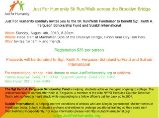 Just For Humanity 5k Run/Walk across the Brooklyn Bridge