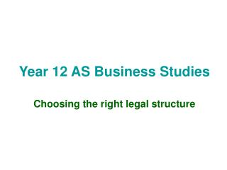 Year 12 AS Business Studies