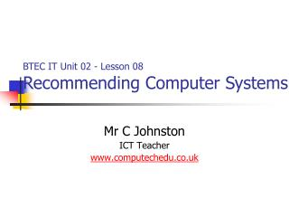 Mr C Johnston ICT Teacher computechedu.co.uk