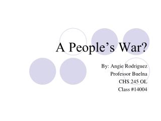 A People�s War?