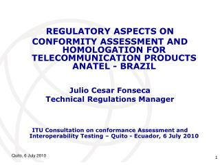REGULATORY ASPECTS ON