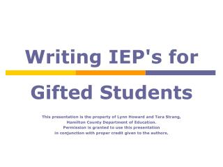 Writing IEP's for