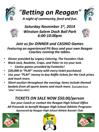 """ Betting on Reagan "" A night of community, food and fun ."