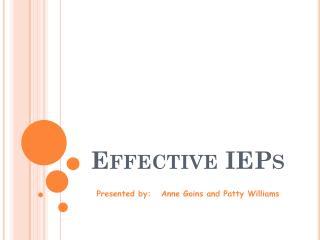 Effective IEPs