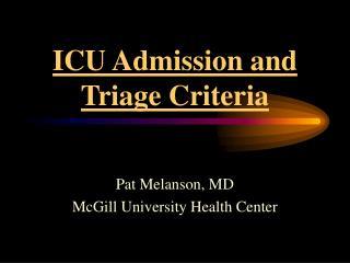 ICU Admission and Triage Criteria