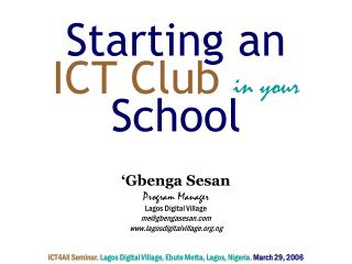 Starting an  ICT Club  in your School