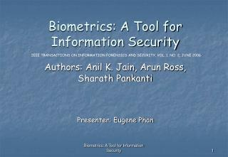 Biometrics: A Tool for Information Security